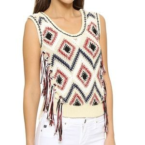 Derek Lam Fringe Tassel Knit Sleeveless Sweater